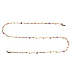 Chain with glas stones , 18 carat gold-plated